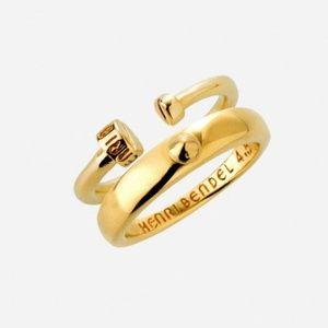 Henri Bendel Luxe Nail Gold Midi Ring Set